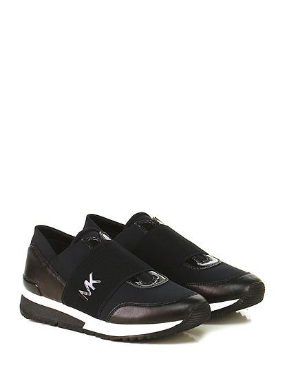 Michael Kors - Sneakers - Donna - Sneaker in pelle, tessuto tecnico e tessuto…