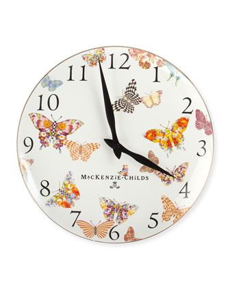 White Butterfly Garden Clock by MacKenzie-Childs at Horchow.