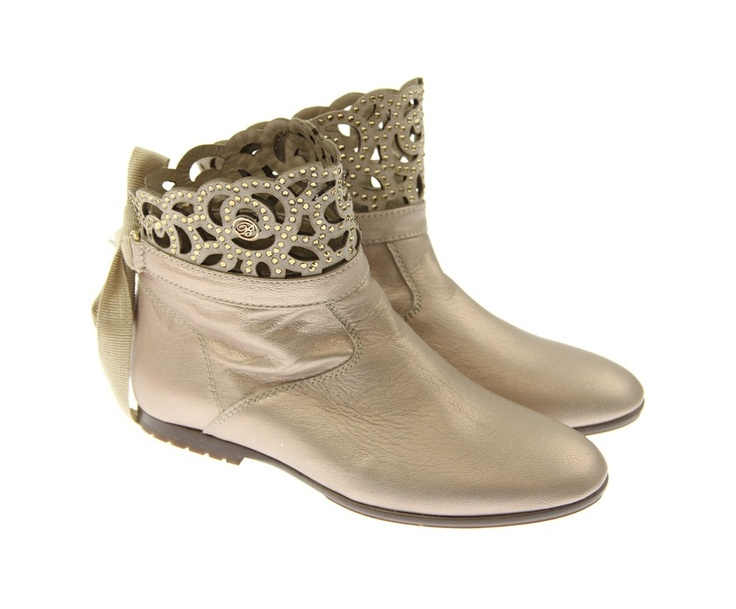 Miss Blumarine Junior Girls Metallic Gold Fretwork Ankle Boots With Diamantes & Bow