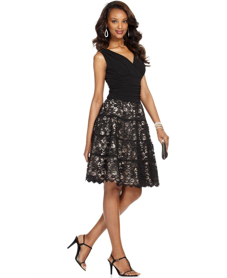 Sl fashions dress sleeveless ruched lace a-line