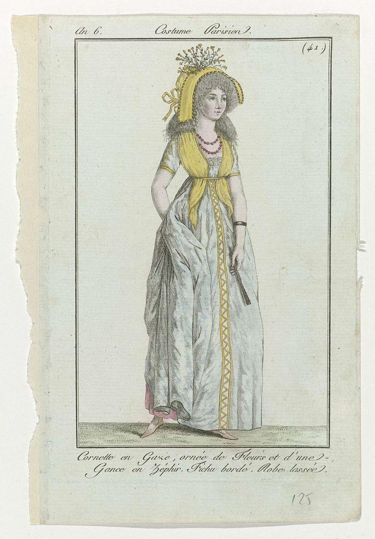 Journal des Dames et des Modes, Costume Parisien, 2 juin 1798, An 6, (41) : Cornette en Gaze..., Anonymous, Sellèque, Pierre de la Mésangère, 1798