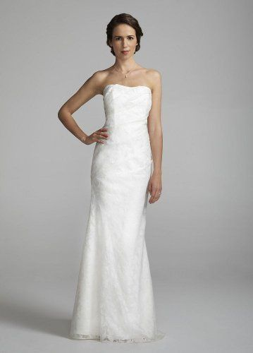 David`s Bridal Wedding Dress: Strapless Linen Burnout Fit to Flare Gown Style 875218 $229.99 #bestseller