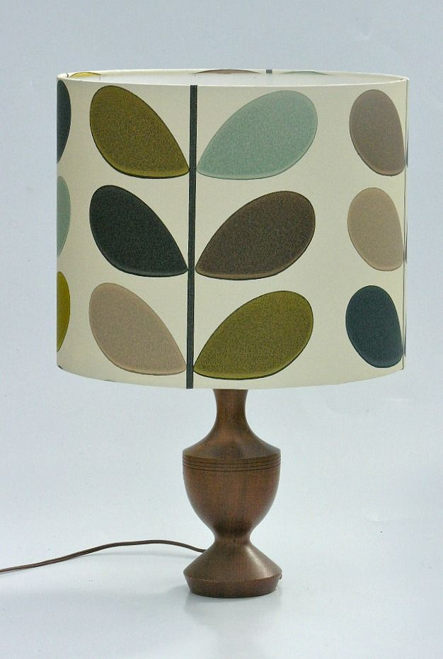 "Orla Kiely ""Mulitstem in Seagreen"" Lampshade  www.boldlampshades.co.nz   bold fabric drum lampshades & cushions custom made"