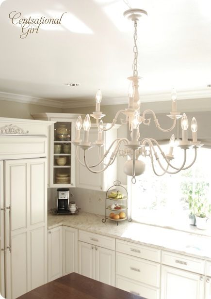 Old brass chandelier into a Chic New White Chandelier ! by Censational Girl