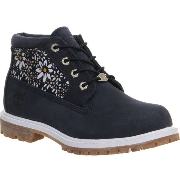 TIMBERLAND Nellie waterproof chukka boots featuring polyvore, fashion, shoes, boots, black iris daisy pri, waterproof boots, timberland shoes, black lace-up boots, black round toe boots and waterproof shoes