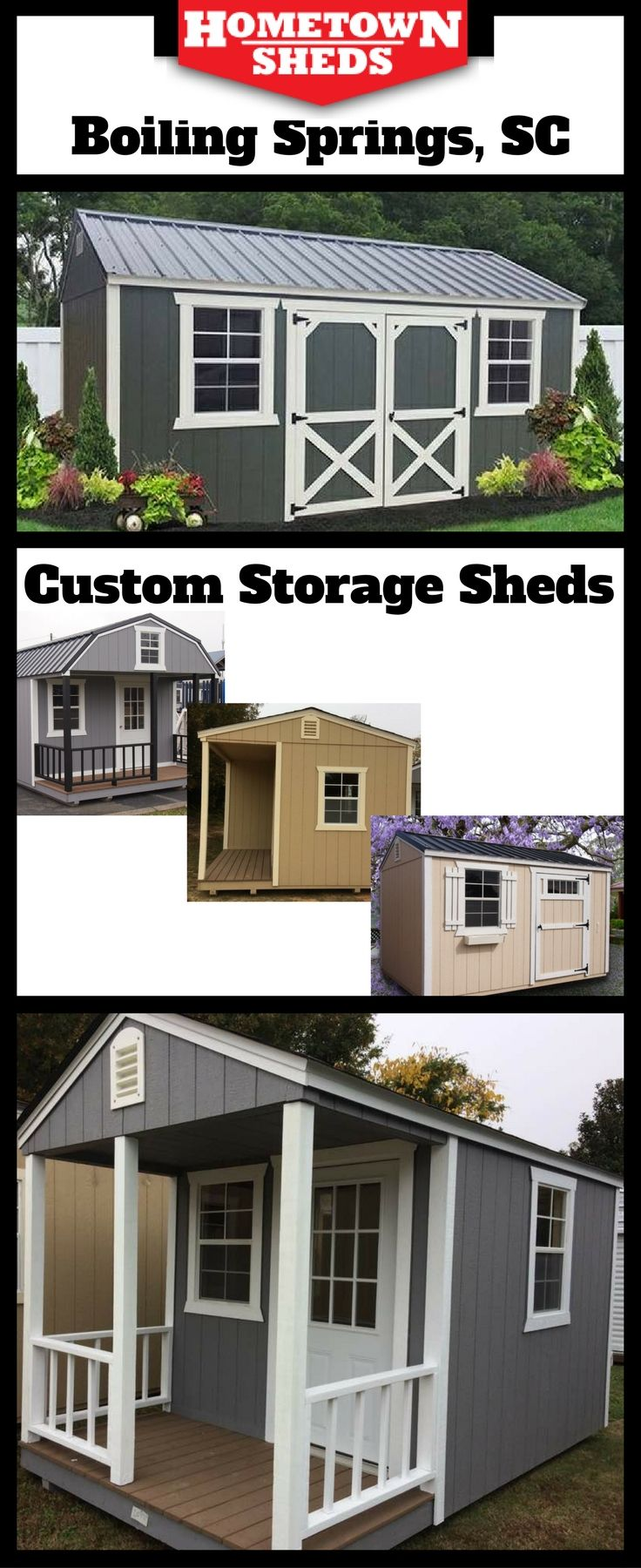 Whether you need a utility storage shed, a garden shed, a he shed or she shed. We can build it custom. 8X10 to 12X36; A-frame or barn; porch or standard; 8 foot walls or 6/12 pitch roof; add windows, doors, and electrical wiring.   People are even converting these sheds into tiny homes and tiny houses.   Stop by 2740 Boiling Springs Road, Boiling Springs to order your custom shed at no extra charge.  (864) 707-5311.