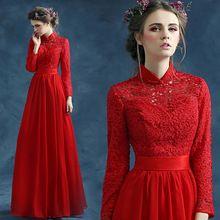 Z 2015 новое поступление на складе беременным Большой размер свадебное платье беременные вечернее платье с длинным рукавом красный урожай высокий воротник мусульманских 007(China (Mainland))
