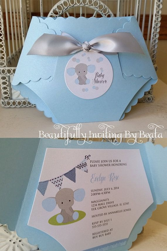 Baby Elephant Baby Shower Invitation  Blue And Gray Baby Shower Baby Boy  Shower   Custom Diaper Die Cut Invitation