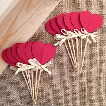 24 красный двусторонняя в форме сердца кекс ботворезы, кекс ботворезы выбирает свадьба, ну вечеринку день рождения декор, кексы ботворезы выбирает, пищевые выборы