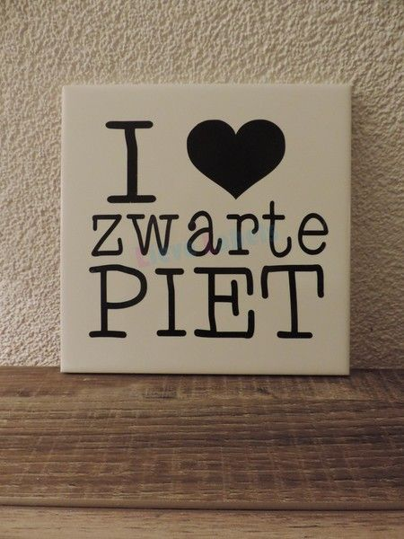 Een super leuk tegeltje met de tekst: I love Zwarte Piet Leuk als decoratie rondom Sinterklaas. Afmeting: 15x15 cm
