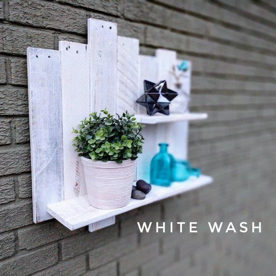 White Wash Pallet Shelf Reclaimed Pallet Wood Palletshelves