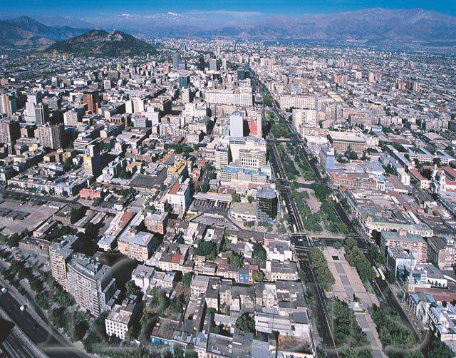 Alameda Bernardo O´Higgins, main avenue crossing Santiago, CHILE