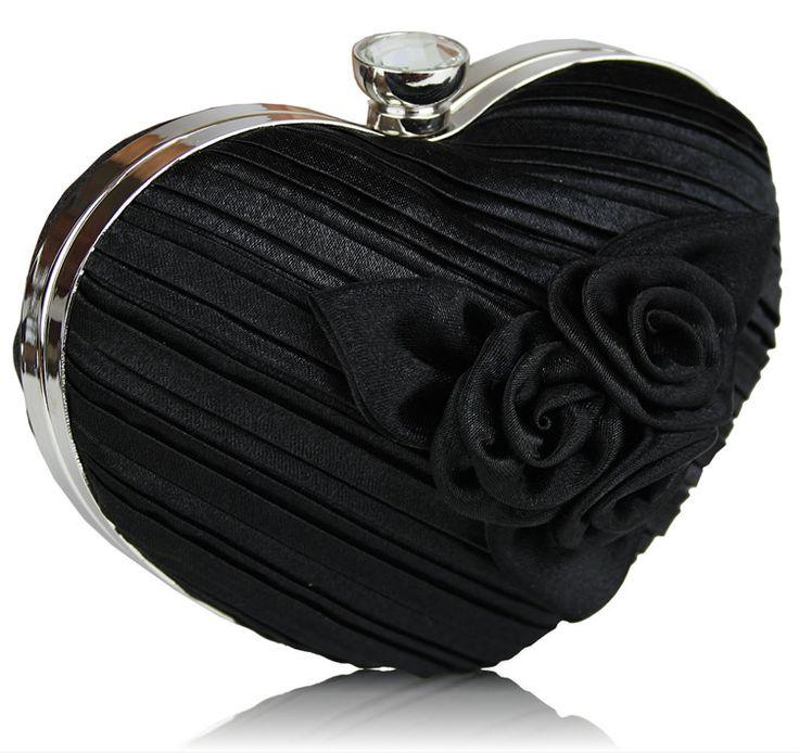 Black Flower Heart Evening Hard Case Clutch Bag