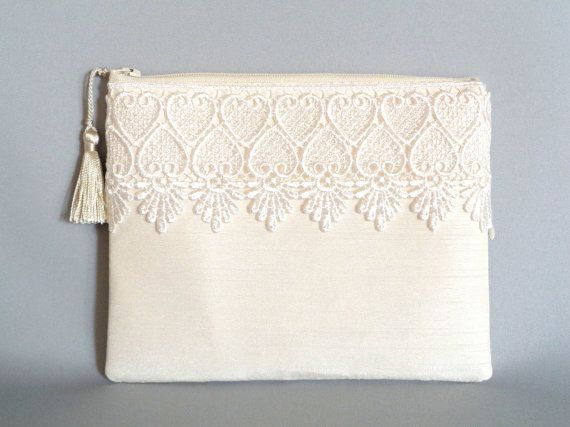 Ivory Clutch Silk Clutch Lace Clutch Wedding by SunlitSerenade