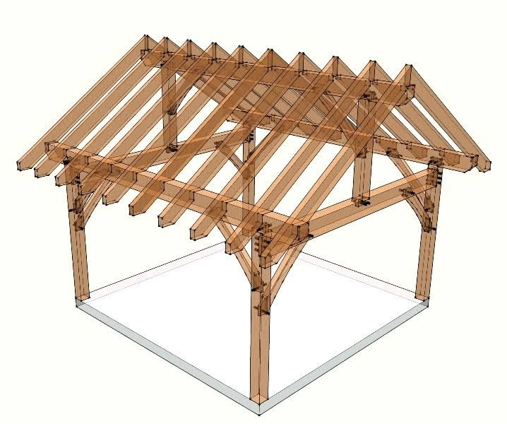 This 16x16 timber frame plan utilizes traditional joinery to create a frame that you can use as a porch, pavilion or shed.