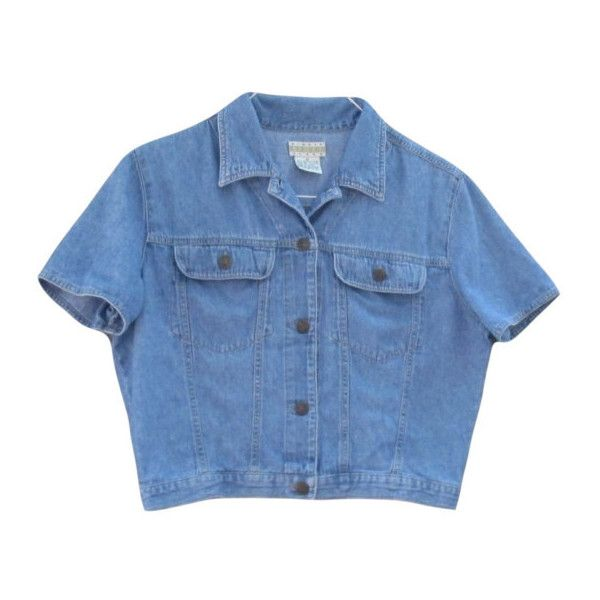Crop Top Denim Button Up 1990s Boxy Oversize Pockets Basic Classic... ($20) ❤ liked on Polyvore featuring tops, clothes - tops, button down top, denim top, boxy top, blue top and cut-out crop tops