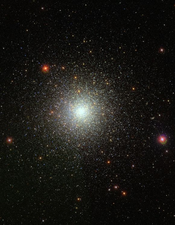 Messier 3  Credit: SDSS r9  (J2000) RA: 13 42 18.756 Dec: +28 24 11.39  Messier 3 (NGC 5272) is a globular cluster of stars in Canes Venatici. It was discovered by Charles Messier on May 3, 1764.  M3 is one of the largest and brightest globular clusters, and is made up of around 500,000 stars. It is estimated to be 8 billion years old. It is located at a distance of about 33,900 light-years and an apparent magnitude of 6,2.