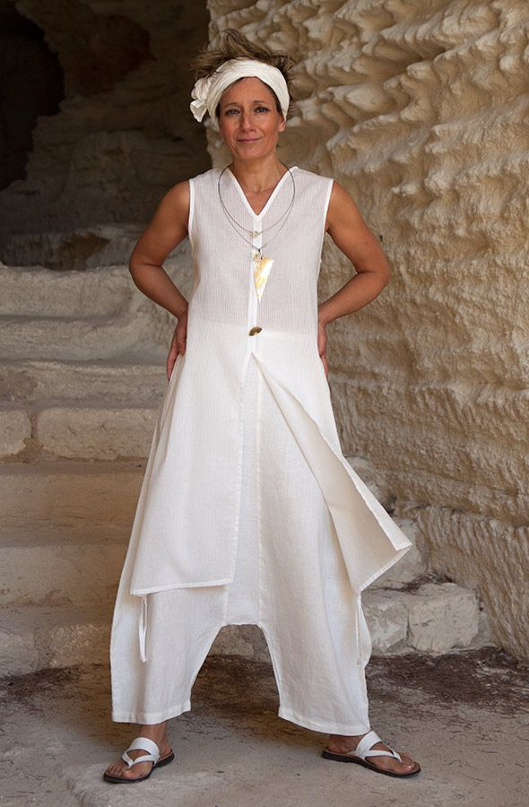 White cotton veil tunic with pure linen sarouel AMALTHEE CREATIONS