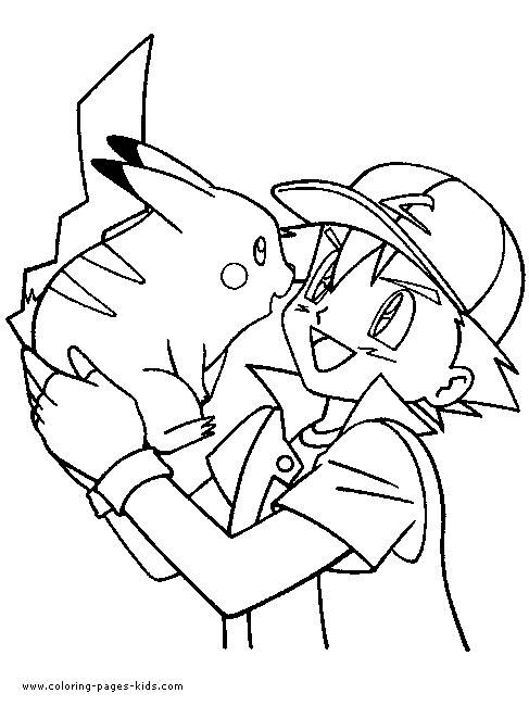 Satoshi and pikachu coloring pages pokemon coloring pages kidsdrawing free coloring pages online