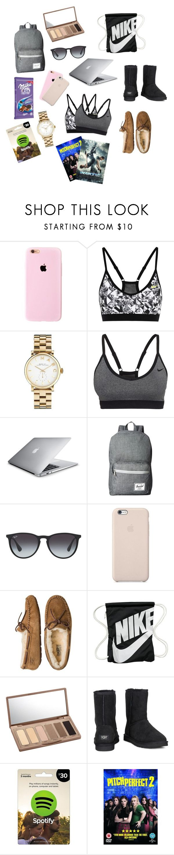"""""""Something like a Christmas wishlist🙋🏼🎅🏼🎁🎄"""" by sannannanna ❤ liked on Polyvore featuring NIKE, Marc by Marc Jacobs, Herschel Supply Co., Ray-Ban, Black Apple, UGG Australia and Urban Decay"""