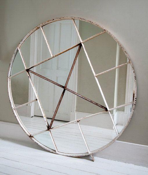 1900's Large Circular Factory Mirror