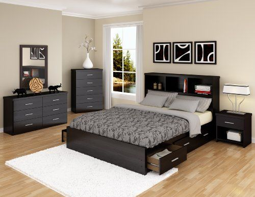 Sonax Queen Storage Bed Set With Bookcase Headboard/Nightstand/Tall  Dresser, Ravenwood Black Sets Bedroom Decor