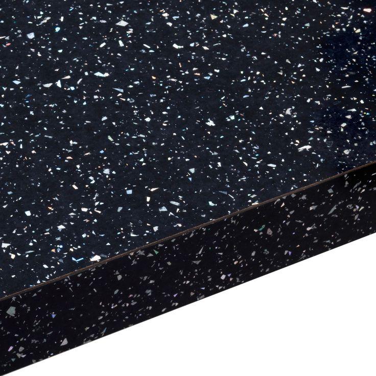 38mm B Q Astral Black Gloss Square Edge Kitchen Worktop L