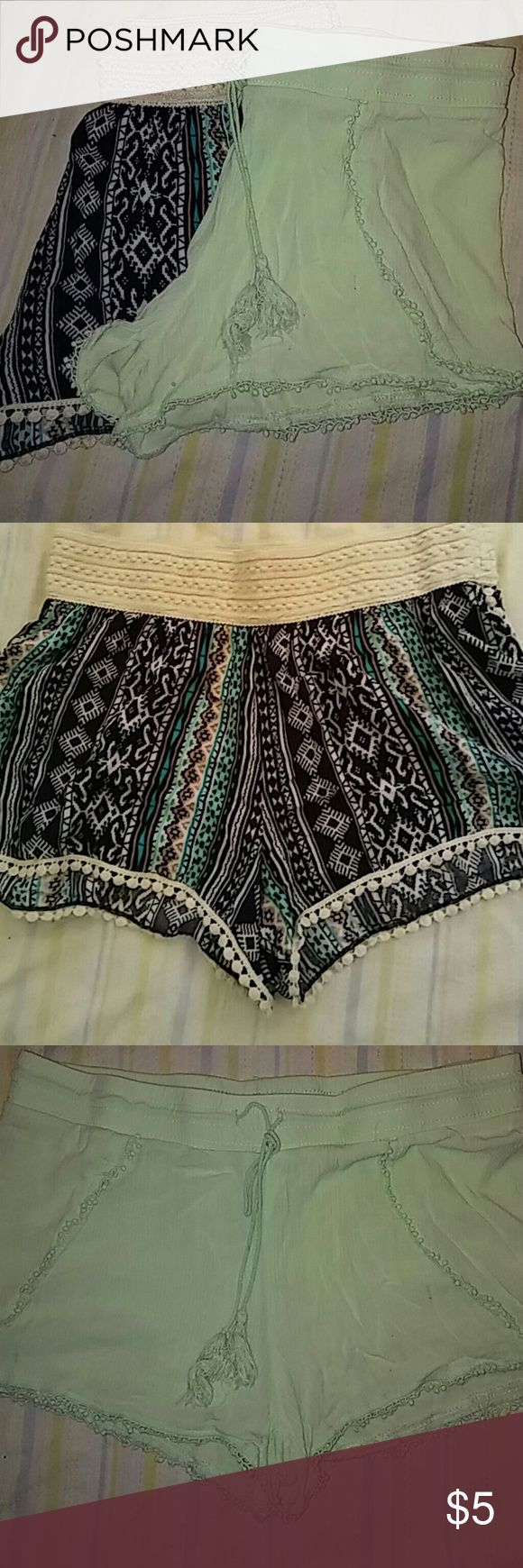 Bundle pair of cute shorts.. 1st pair is cute Aztec print shorts with cream lace along the top and bottom.. (Medium) 2nd pair is a light mint green comfy shorts with lace along the bottom..(Large) but fits like a medium.. Perfect condition!# No Boundaries Shorts Bermudas