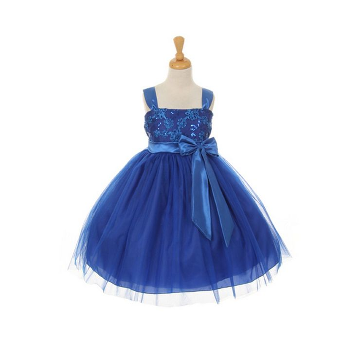 A delicate sweet special occasion dress for your girl by Princess Diaries. It will certainly ensure a stunning appearance as a flower girl. The royal blue dress features sequin mesh and crystal tulle satin and has a ribbon bow embellishment in front, as w