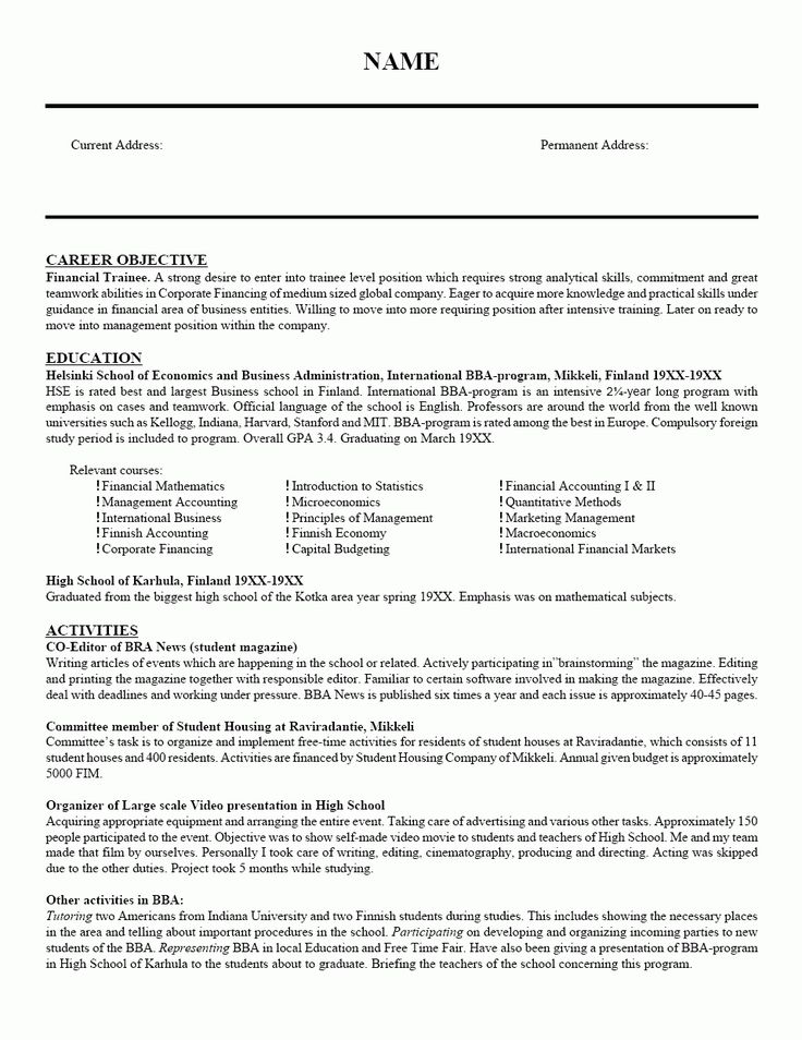 64 best Resume images on Pinterest Sample resume, Cover letter - objective statement for finance resume