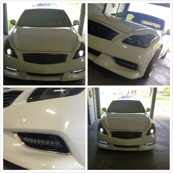 This Custom Infiniti G37 Coupe Features A Very Nice Addon  Bumper LED DRL.  The