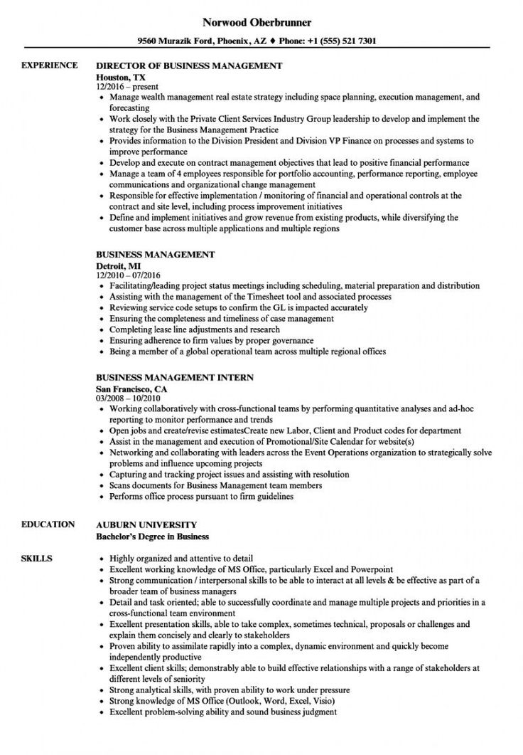 Business Management Resume Template in 2020 Project