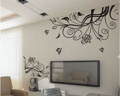 nature Decal Wall Stickers Vinyl Wall Decor romantic flower vine flowers TV set living room bed room sofa paste decals Removeable Art 328. $38.00, via Etsy.