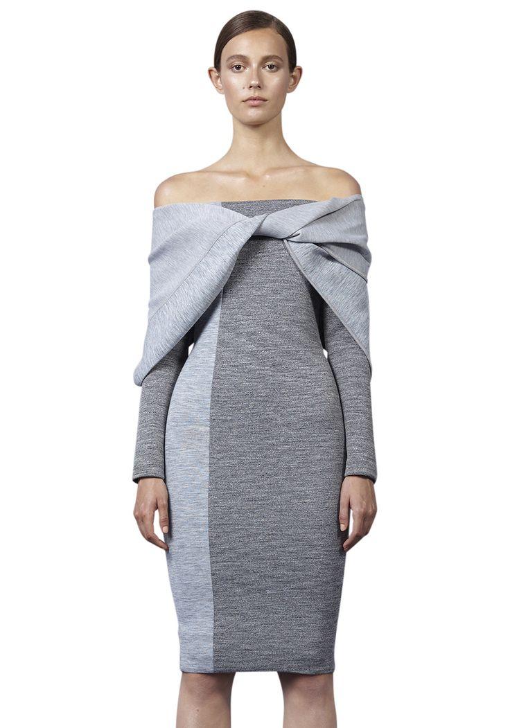 BY JOHNNY  - Drape Twist Strapless Dress - Grey