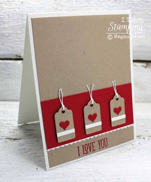 Stampin' Up! Cards | Card Making Ideas | Handmade Greeting Cards | Paper Crafts | Simple Cards | Die Cut Cards | Die Cut Card Ideas | Monochromatic Cards | Click through and get some fun tips on how to make I Love You cards for anyone - friends, guys, girls, kids - who YOU want to say you love!