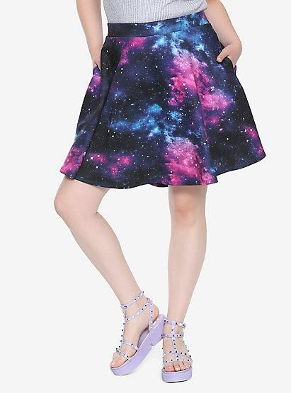 30326b22ee3 Galaxy Print Circle Skirt Plus Size