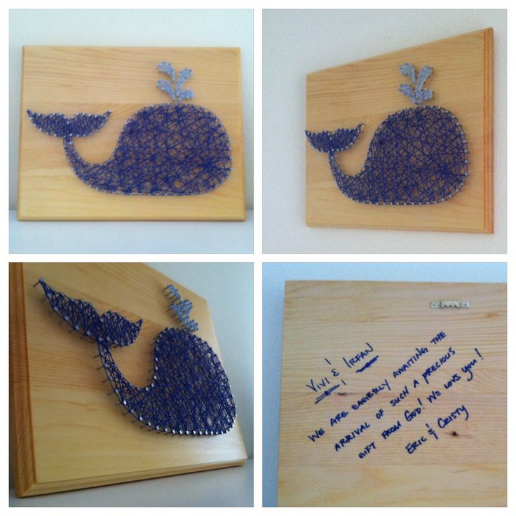 String and nail art decor for a whale themed nursery.