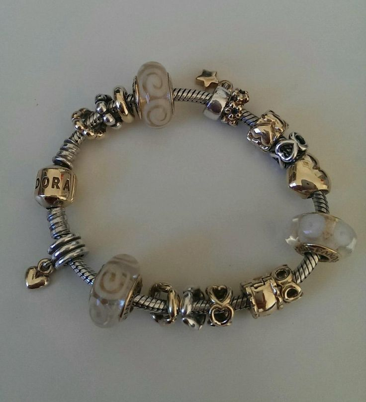 How Much Is A Pandora Charm Bracelet: Two Tone Pandora With White Spiral Muranos Love This So