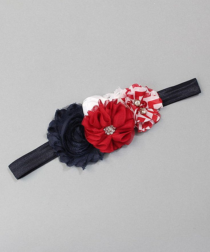 Look at this #zulilyfind! Charlotte Rose Couture Navy & Red Chevron Blossom Headband by Charlotte Rose Couture #zulilyfinds