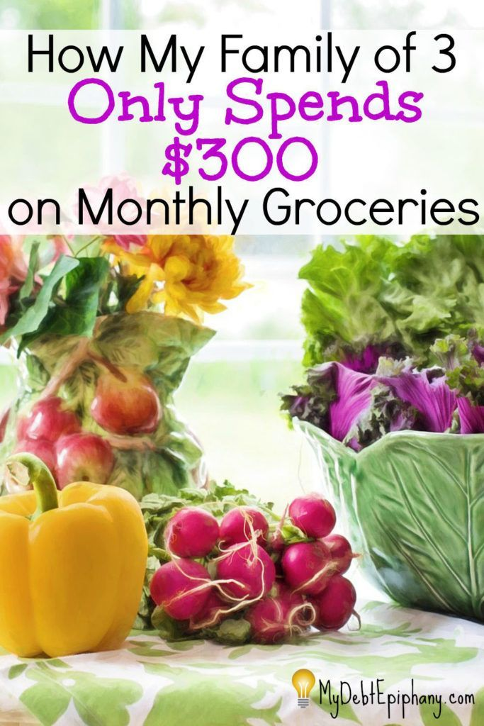 How my family spends $300 on monthly groceries. How to spend less on groceries. #budget