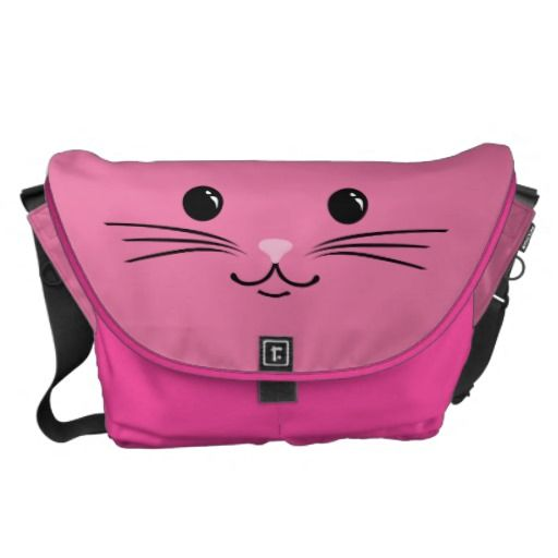 Pink Kitty Cat Cute Animal Face Design Courier Bag