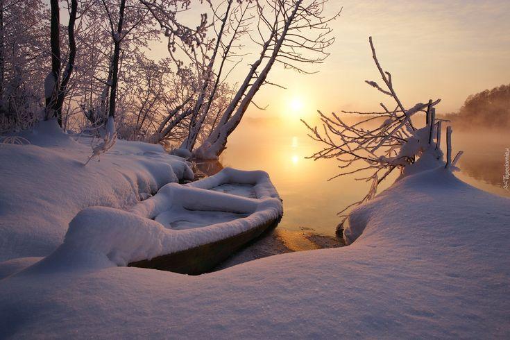 Zima, Jezioro, Łódka, Wschód słońca, Drzewa, Mgła
