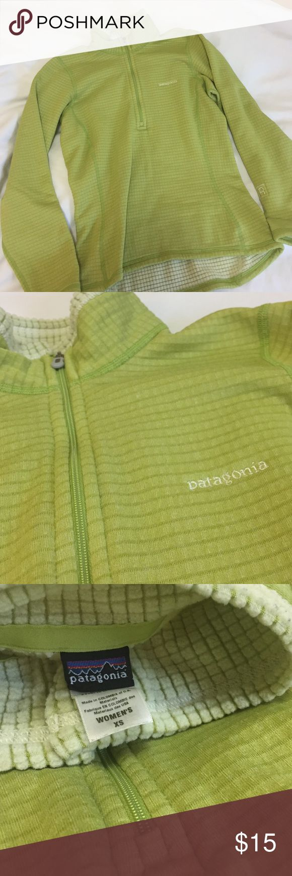 Patagonia Women's XS R1 quarter zip fleece EUC Lime green and oh so visible! R1 has a waffle fleece design that is warm and breathable. I have too many fleeces... closet clearance! Patagonia Jackets & Coats