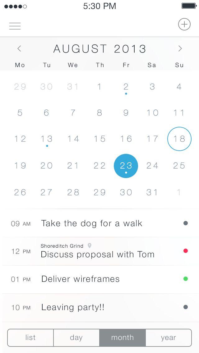 iOS7 Calendar App - by Charles Patterson | #ui