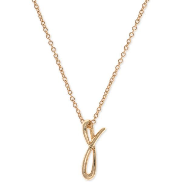 Anne Klein Gold-Tone Initial Pendant Necklace ($20) ❤ liked on Polyvore featuring jewelry, necklaces, j, gold colored necklace, initial jewelry, letter necklace, anne klein jewelry and letters necklace