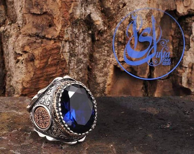 Sapphire Ring,Macabre Ring,Macabre Jewelry,Islamic Ring,Islamic Gifts,Mens Ring,Jewelry Handmade,Islam,Gifts For Him,Islamic Art,Silver Ring