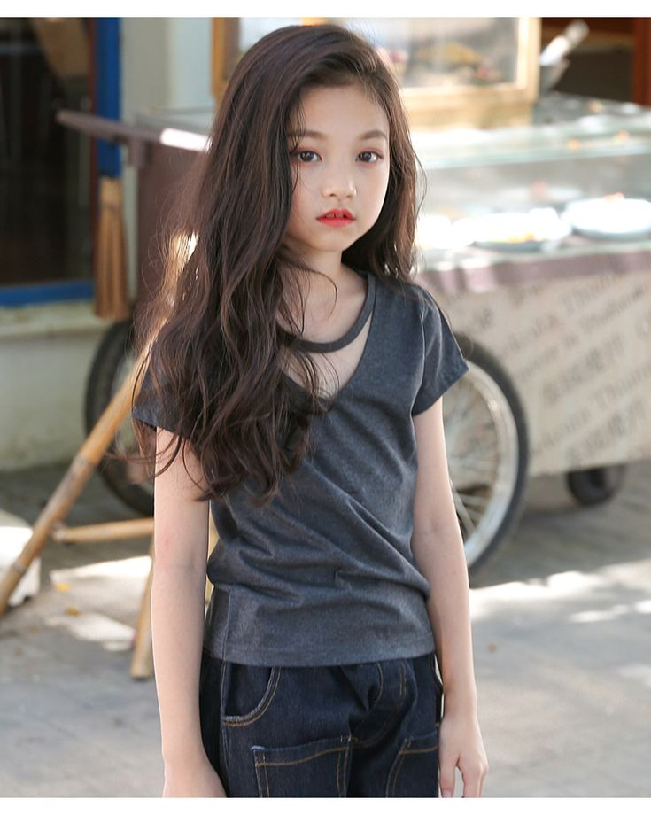 New 2018 Summer T-Shirts For Girls Cotton Short Sleeve Tees Kids Casual V-neck T shirt Costumes Teenagers Tops Children t-shirt Clothing (3)