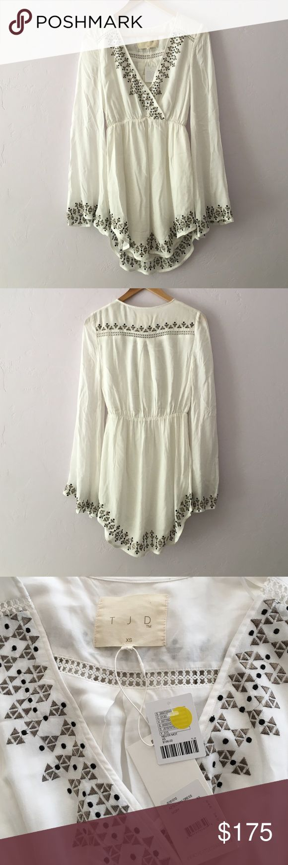 """The Jetset Diaries Aztec Mini Dress NWT TJD dress in """"Ivory."""" Features surpliced low-v neckline, contrast eyelet trim & embroidery and flowing sleeves. So beautiful and intricately detailed. One teeny tiny spot in the front near the neckline that I'm 99.99% sure would come out if washed. Fits XS or Small. Bought at Urban Outfitters. **LOWER ON Ⓜ️** The Jetset Diaries Dresses Mini"""