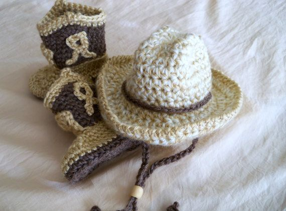 Baby Cowboy Hat and Boots Set - Baby Hat - Customize your Set - Baby Booties - Western Set - by JoJo's Bootique