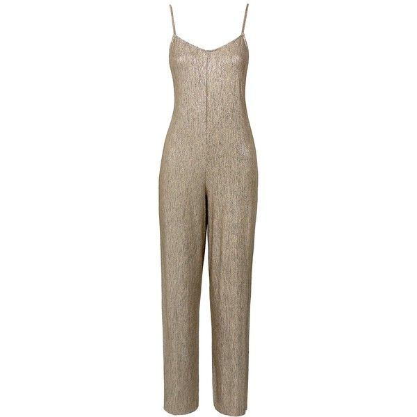Sans Souci Beige metallic knit jumpsuit (1.115 UYU) ❤ liked on Polyvore featuring jumpsuits, beige, cropped jumpsuit, sans souci, spaghetti strap jumpsuit, beige jumpsuit and knit jumpsuit
